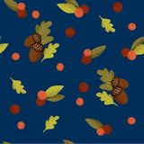 Seamless pattern with acorns, rowanberries and autumn oak leaves. On blue background. Perfect for wrapping paper, wallpaper, autumn greeting cards, web pages vector illustration