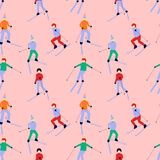 Seamless pattern with active skiing people wearing winter clothes stock illustration