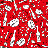 Seamless pattern with addiction and drugs. On red background Royalty Free Stock Image