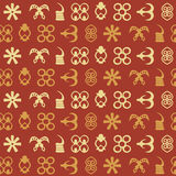 Seamless pattern with adinkra symbols Royalty Free Stock Image