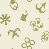 Seamless pattern with adinkra symbols Royalty Free Stock Photos