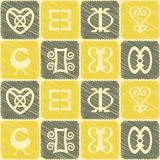 Seamless pattern with adinkra symbols Royalty Free Stock Images