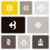 Seamless pattern with adinkra symbols Royalty Free Stock Photo