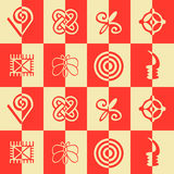 Seamless pattern with adinkra symbols Stock Image