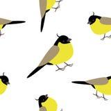 Seamless pattern with adorable yellow birds. Sweet seamles pattern with little yellow birds on a neutral white bakcground Stock Image