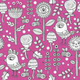 Seamless pattern for adult and children coloring. Flora and fauna background Stock Photography