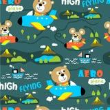 Seamless pattern,aero plane funny animal cartoon,vector illustration. Seamless pattern funny animal cartoon,vector illustration for t shirt and wallpaper or book stock illustration