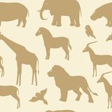 Seamless pattern with african animal silhouettes. Seamless pattern with collection of african animals silhouettes Royalty Free Stock Photography