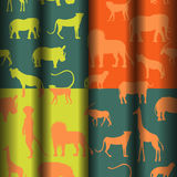 Seamless Pattern with African Animals. Set with Four Bright Seamless Pattern with African Savannah Animals Performed in Blank Simplistic Manner. Ideal for Paper Stock Photography
