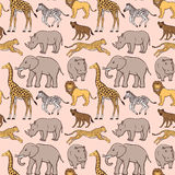 Seamless pattern with African animals Stock Photography