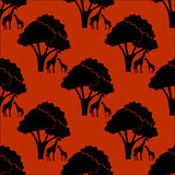 Seamless pattern with african background on evening savanna Stock Photos