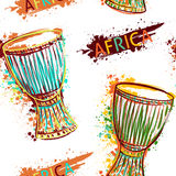 Seamless pattern with african drum tam tam. And splashes in watercolor style. Colorful hand drawn vector illustration Royalty Free Stock Photos