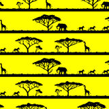 Seamless pattern with African landscapes and animals. Seamless pattern with silhouette of African landscapes and animals Vector Illustration