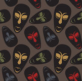 Seamless  pattern with african masks Stock Image