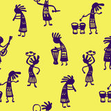 Seamless pattern African men musicians with tools on a yellow background sketch Doodle Vector Illustration Stock Photos