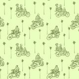 Seamless pattern with African motorcycles and drivers in traditional clothes on a green background with palm trees. Stock Photo