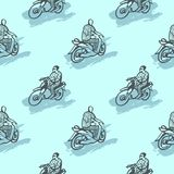 Seamless pattern with African motorcycles and drivers in traditional clothes. Stock Image