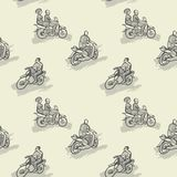 Seamless pattern with African motorcycles and drivers in traditional clothes Stock Photo