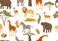 Seamless pattern with African savanna animals. Stylized illustration royalty free illustration