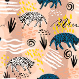 Seamless pattern in african tribal style. Texture with leopards and handcrafted textures and shapes. Perfect for fabric, textile,. Wrapping. Vector Illustration Stock Photography