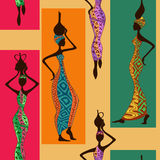 Seamless pattern of African women Stock Images