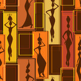 Seamless pattern of African women Stock Photography
