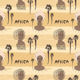 Seamless pattern with African women in scarf, palms and inscription `africa`. Royalty Free Stock Photos
