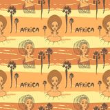 Seamless pattern with African women in scarf, palms and inscription `africa` Stock Photo