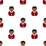 Black Christian Boy Icon Seamless Pattern Stock Images