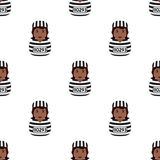 Black Convict Woman Seamless Pattern Royalty Free Stock Photos