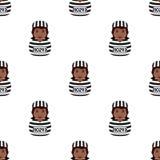 Black Convict Woman Seamless Pattern Royalty Free Stock Photos