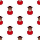 Black Cowboy Avatar Seamless Pattern Stock Images