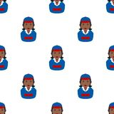Black Delivery Girl Avatar Seamless Pattern Stock Image
