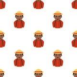 Black Farmer Avatar Icon Seamless Pattern Stock Photography