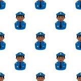 Black Policeman Avatar Seamless Pattern Stock Photo