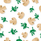 Seamless Pattern with Agaric Field Mushrooms. And parsley in flat style. Wallpaper design with vegetarian food ingredients. For pizzeria, restaurant ad, logo Stock Photography