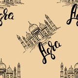 Seamless pattern, Agra label with hand drawn the Taj Mahal, lettering Agra. On beige background Royalty Free Stock Image