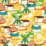 Seamless pattern with agricultural objects Royalty Free Stock Photos