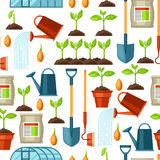 Seamless pattern with agriculture objects. Instruments for cultivation, plants seedling process, stage plant growth Stock Photos