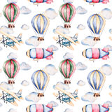 Seamless pattern with air balloons,airship,clouds and the plane in pastel colors. Royalty Free Stock Images