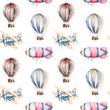 Seamless pattern with air balloons,airship and the plane in pastel colors. Royalty Free Stock Photo