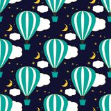 Seamless pattern with air balloons in the sky. Vector illustration Stock Image