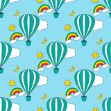 Seamless pattern with air balloons in the sky. Vector illustration Royalty Free Stock Photos