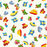 Seamless pattern with airplane, airplane, boat, ship, helicopter, cube, submarine, car, truck, van, for kids in cartoon style. Stock Photos