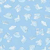 Seamless pattern with airplane, airplane, boat, ship, helicopter, cube, submarine, car, truck, van, for kids in cartoon style. Royalty Free Stock Photo
