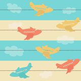 Seamless pattern with airplanes Stock Photography