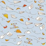 Seamless pattern with airplanes. Back to school Stock Images