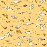 Seamless pattern with airplanes. Back to school Stock Photos