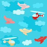 Seamless pattern with airplanes and clouds Royalty Free Stock Photography