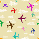 Seamless pattern of airplanes flying in the sky Royalty Free Stock Photo